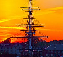 USA. Massachusetts. Boston. USS Constitution. Sunset. by vadim19