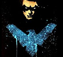 Nightwing Dick Grayson acrylic splatter by justin13art
