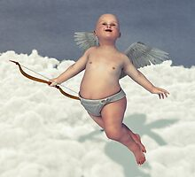 Cupid's Flight - A Cherub Above The Clouds by Liam Liberty