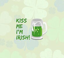 Kiss Me I'm Irish Green Beer Mug Clovers by sitnica