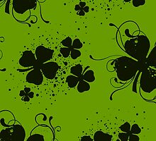 Saint Patrick Day Green Black Clovers Swirls by sitnica