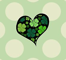 Green Black Saint Patrick Day Hearts Clovers by sitnica