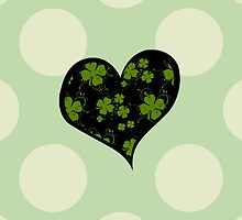 St Patrick Day Black Green Clovers Swirls Hearts by sitnica