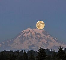 Full Moon over Mount Rainier by Kathy Yates