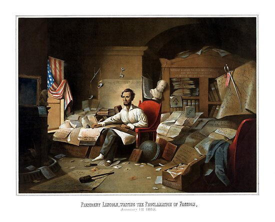 President Lincoln Writing The Proclamation Of Freedom by warishellstore