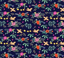 Cute vintage pattern with birds and flowers by Anna  Yudina