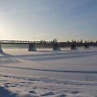 Bridge over the river Glomma, Elverum, Norway. Winter evening. by UpNorthPhoto