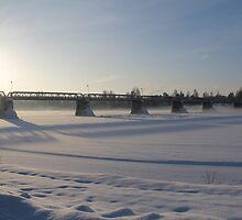 Bridge over the river Glomma, Elverum, Norway. Winter evening. by UpNorthPhoto