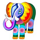 Elephant Rainbow Colors Patchwork by BluedarkArt
