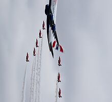 Airbus A380 and the Red Arrows by Simon Hills