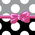 Ribbon, Bow, Polka Dots - Black Gray Pink by sitnica