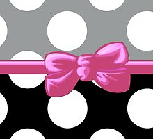 Polka Dots, Ribbon and Bow, White Black Gray Pink by sitnica