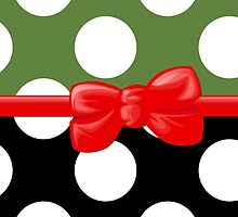 Polka Dots, Ribbon and Bow, White Black Green Red by sitnica