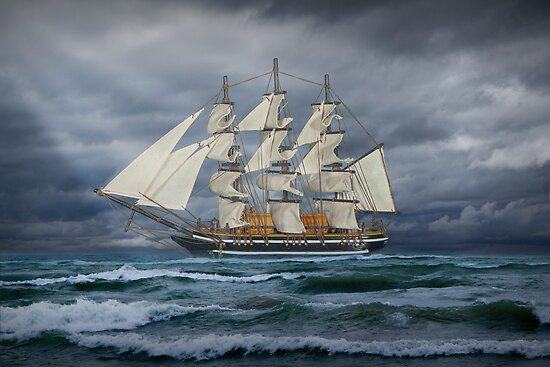 Three Masted Ship on the high seas by Randall Nyhof