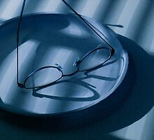 Eye Glasses, Plate and Venetian Blind Shadows in blue by Randall Nyhof