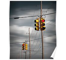 Waiting for the Traffic Light watching Gray Clouds flow by Poster