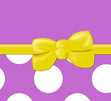 Ribbon, Bow, Polka Dots - White Purple Yellow by sitnica