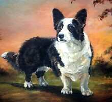 Welsh Corgi Cardigan Dog Portrait by Oldetimemercan