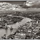 The Shard's View curve of the River Thames BW by RunnyCustard