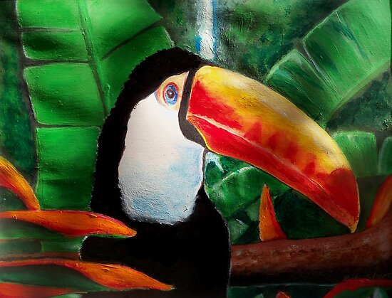 Queen of her domain - Toucan Texture Acrylic Wildlife Painting by Rick Short