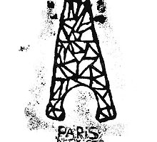 Paris N'Existe Pas - Eiffel Tower - Paris Does Not Exist - Black White by 082010