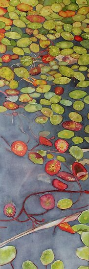 Lily pads on One Mile Lake, watercolor on paper mounted on board by Sandrine Pelissier
