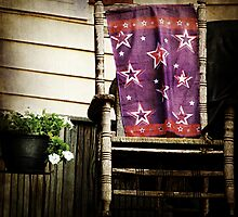 Old Chair and Starry Flag cozy front porch photography by jemvistaprint