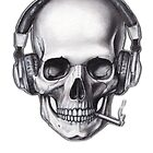 Skull, Cigarette and Headphone by yektaersoy