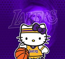 LAKERS Hello kitty iphone Case by daleos
