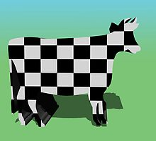 Black and white check cow  by kreativekate