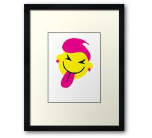 Pinky smiley face with tongue poking out CHEEKY! Framed Print