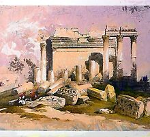 A digital painting of the Ruins of the eastern portico of the Temple of Baalbec May 6th 1839 by Dennis Melling
