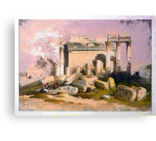 A digital painting of the Ruins of the eastern portico of the Temple of Baalbec May 6th 1839 Canvas Print