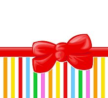Retro Stripes, Ribbon and Bow, Red Blue Pink Green by sitnica
