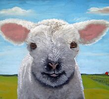 Happy Day farm animal landscape - lamb oil painting by LindaAppleArt