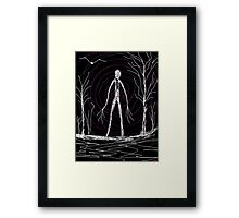 creepy slender man in woods Framed Print
