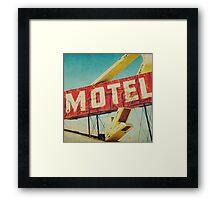 Thrashed Motel Sign Framed Print