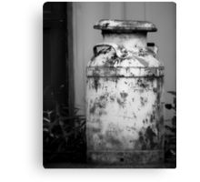 Vintage Rustic Milk Can black and white photography Canvas Print