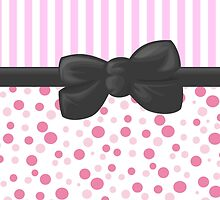 Stripes Dots Spots, Ribbon and Bow, Pink White Gray by sitnica