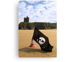 castle and beach with jolly roger flag Canvas Print