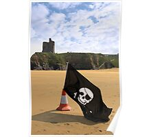 castle and beach with jolly roger flag Poster