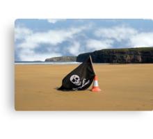sandy beach with jolly roger flag Canvas Print