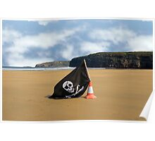 sandy beach with jolly roger flag Poster