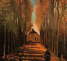Avenue of Poplars in Autumn, Vincent van Gogh. Impressionism fine art. Autumn landscape oil painting. by naturematters