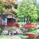 Japanese Garden With Red Bridge by Susan Savad