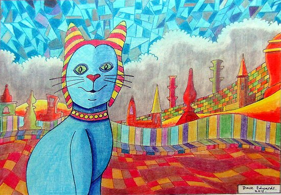 389 - FAIENCE CAT - 02 - DAVE EDWARDS - COLOURED PENCILS - 2013 by BLYTHART