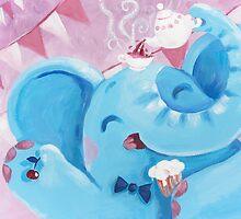 Tea Time - Rondy the Elephant with a tea pot by oksancia