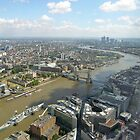 HMS Belfast, Tower of London & Tower Bridge from the top of the Shard, looking east, UK by Philip Mitchell