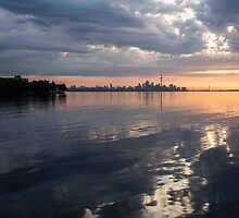 Early Morning Reflections - Lake Ontario and Downtown Toronto Skyline  by Georgia Mizuleva