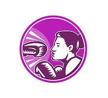 Female Boxer Punch Retro by patrimonio